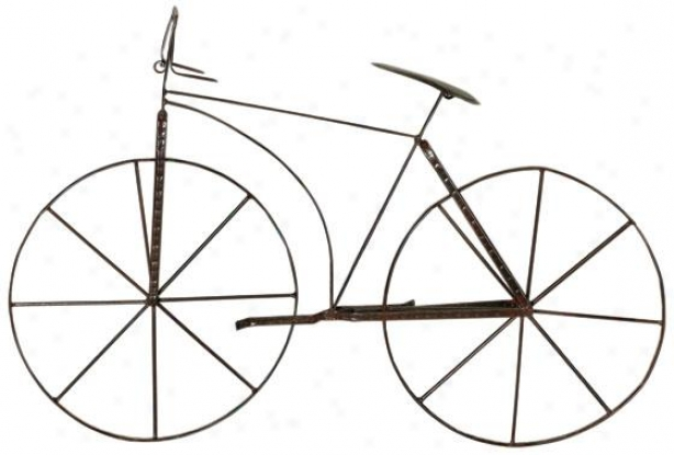 """bicycle Wall Sculpture - 24.5""""hx39.5""w, Brown"""