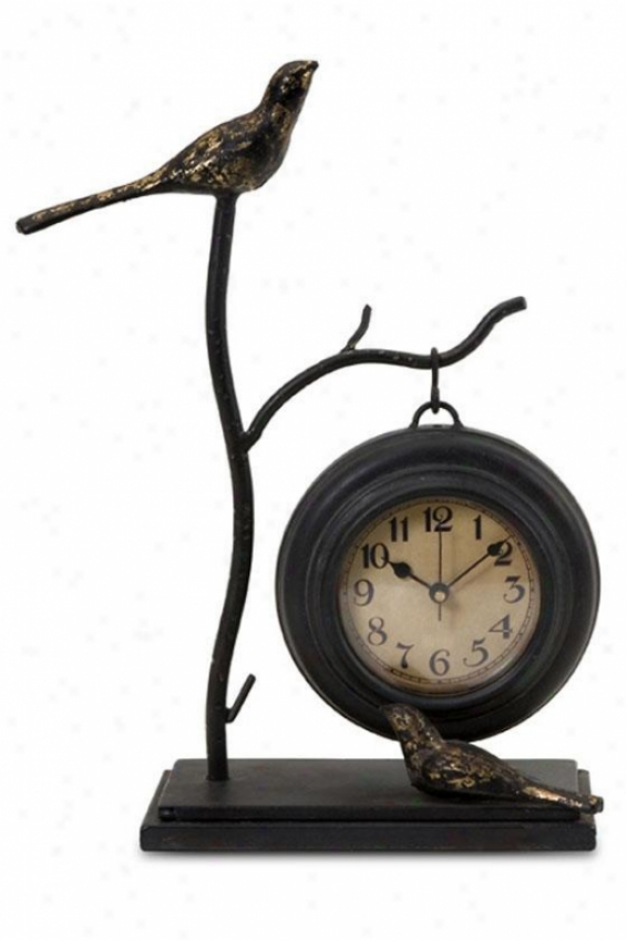"""bird And Branch With Hanging Clock - 11.75""""hx9""""w, Bronze"""