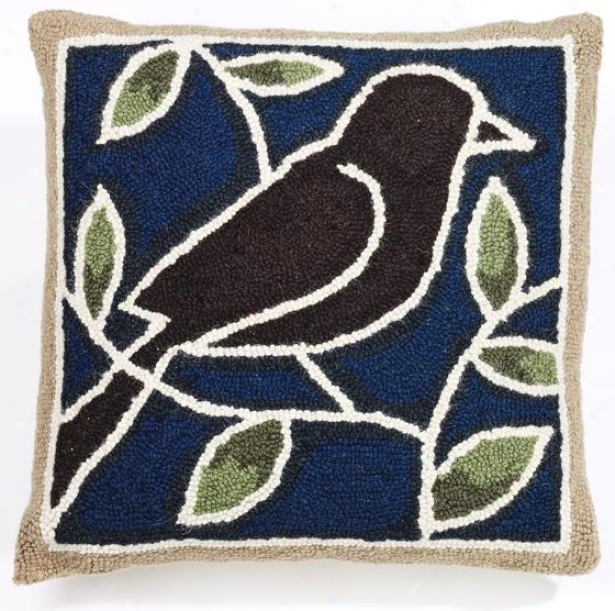 """bird Hook Pillow - 18"""" Square, Blue Green Brow"""