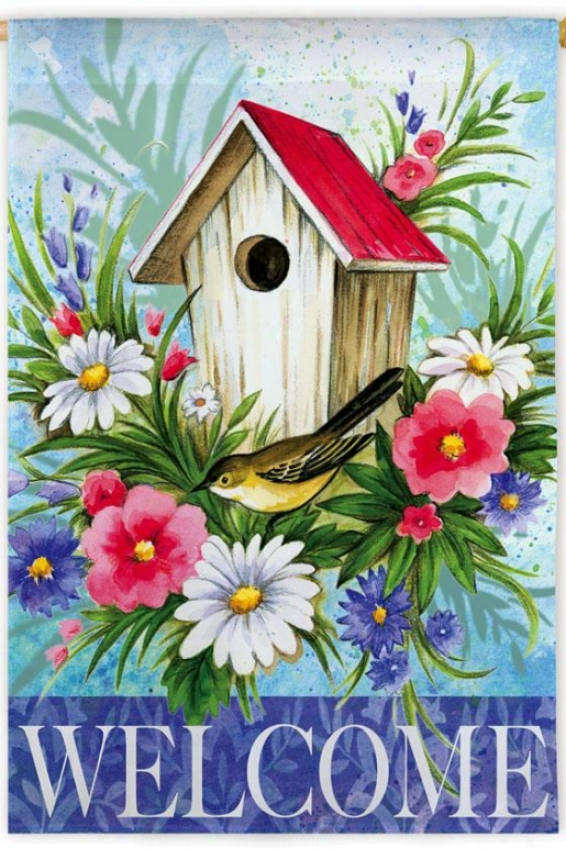 Bird House Welcome Flag - Garden, Bird House