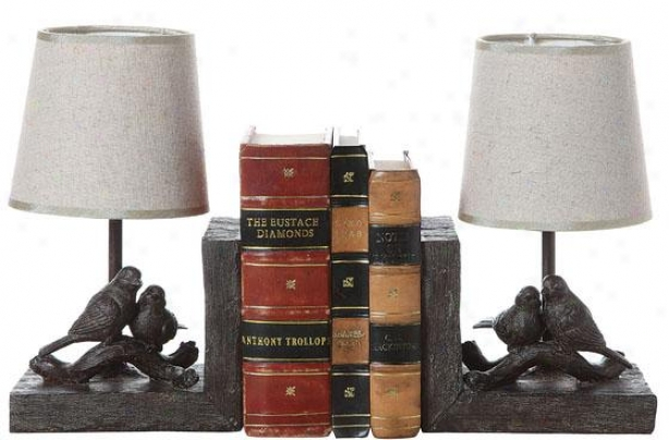 """bird Lamp Bookends - Set Of 2 - 10""""hx12.5""""wx5""""d, Brown"""