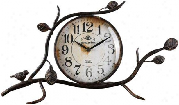 """bird On A Limb Desk Clock - 10 X 21 X 6""""d, Antq Ivory/blck"""