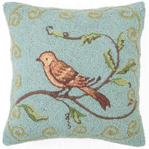 """bird Watcher Pillow - 16""""hx16""""wx2.5""""d, Blue"""