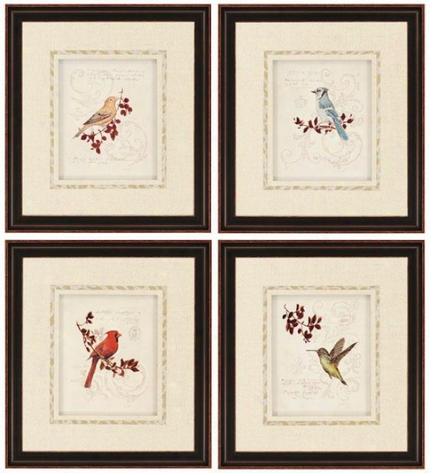 Birds With Branches Wall Art - Set Of 4 - Set Of 4, Ivory