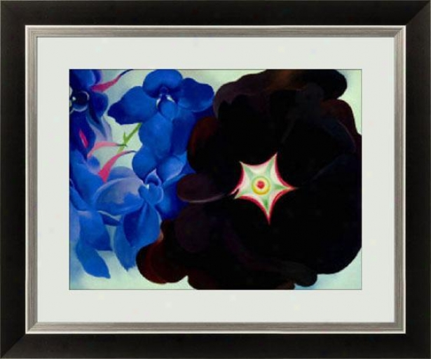 """black Hollyhock Blue Lakespur Framed Wall Art - 26.5""""hx31.5""""w, Bk W/slv Lip Fm"""