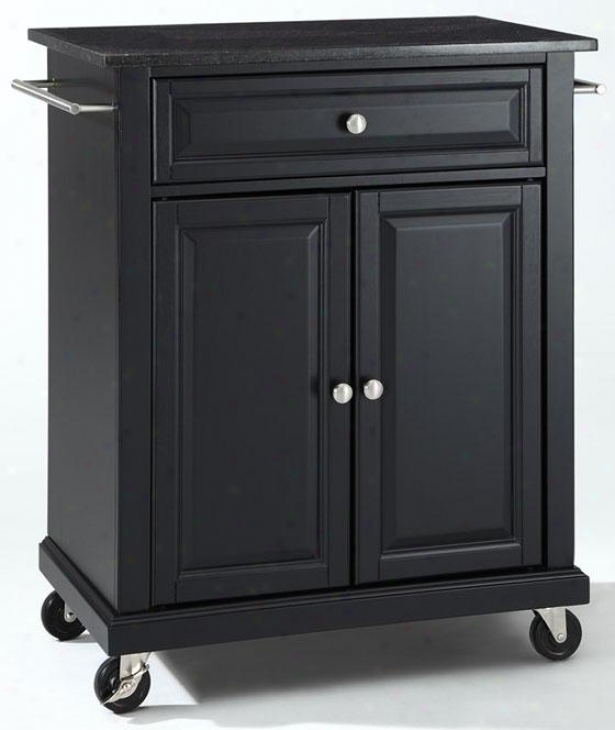 """black Kitchen Cart - 36""""hx28""""wx18""""d, Black Granitd"""