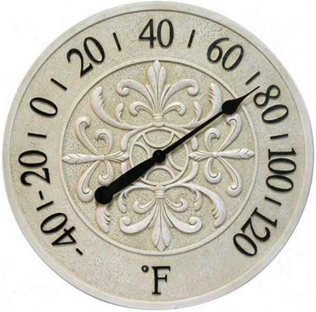 """blanc Fleur Indoor Outdoor Thermometer - 15""""h, Ivory"""