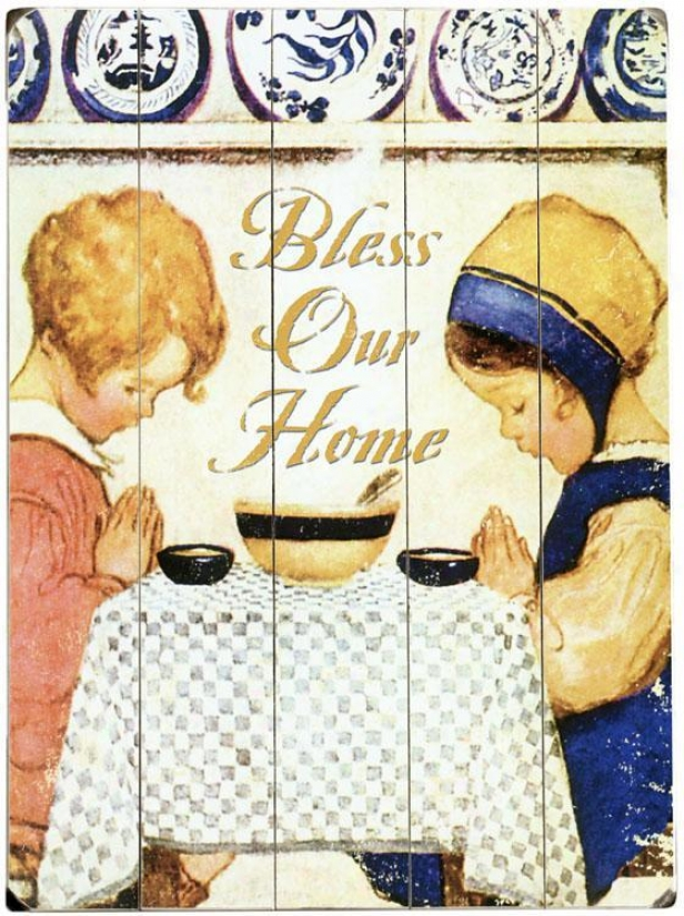 """bless Our Home Woody Sign - 20""""hx14""""w, Ivory"""