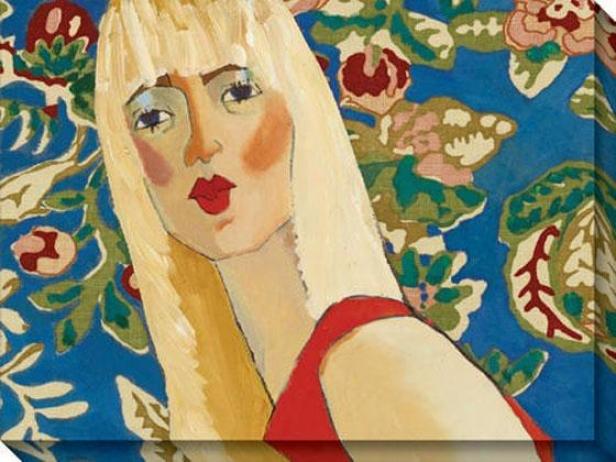 """blondie Has The Blues Canvas Wall Art - 48""""hx36""""w, Blue"""