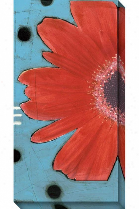 Blue And Red Flower I Canvas Wall Art - I, Blue