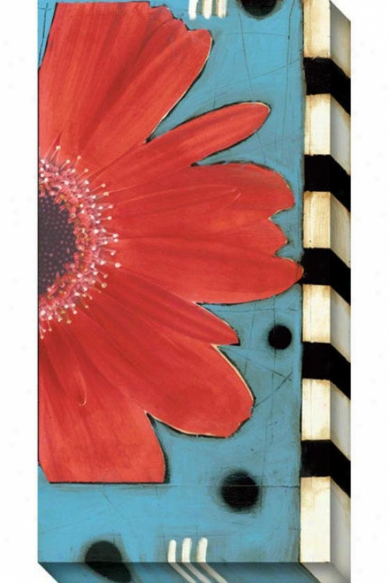 Blue And Red Flower Ii Canvas Wall Art - Ii, Blue
