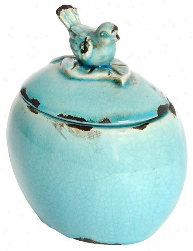 """bluebird Lidded Jar - 6.5""""wx5""""dx7""""h, Turquoise"""
