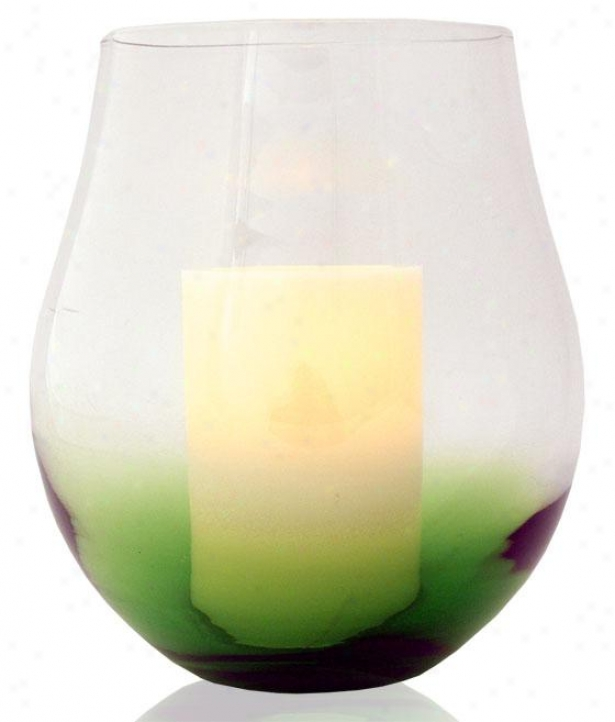 """bordeaux Flameless Hur5icane Candle - 11h X 9w X 9""""d, Green"""