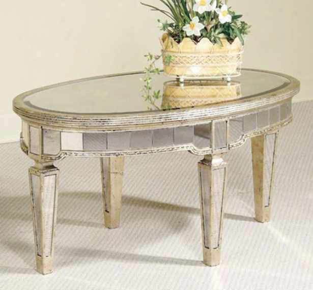 """borghese Mirrored Coffee Table - 18""""hx36""""wx22""""d, Mirrored"""