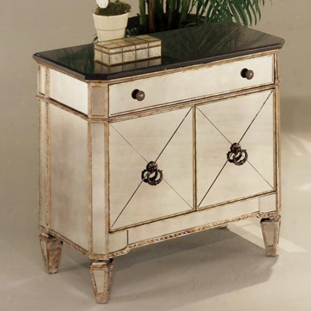 """""""borghese Mirdored Commode Table - 29""""""""hx30""""""""wx17""""""""d, Mirrored"""""""