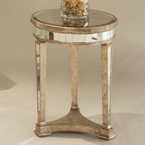 """""""borghese Mirrored Round Side End Table - 26""""""""hx20""""""""dia, Mirrorwd"""""""