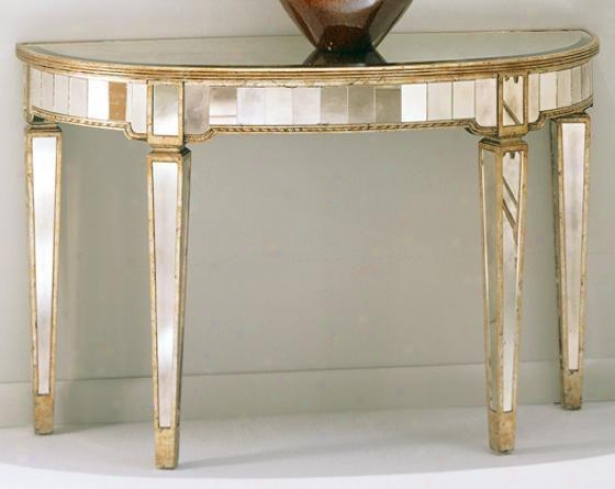 """borghese Mirrored Couch Bracket Table - 30""""hx46""""wx18""""d, Mirrored"""