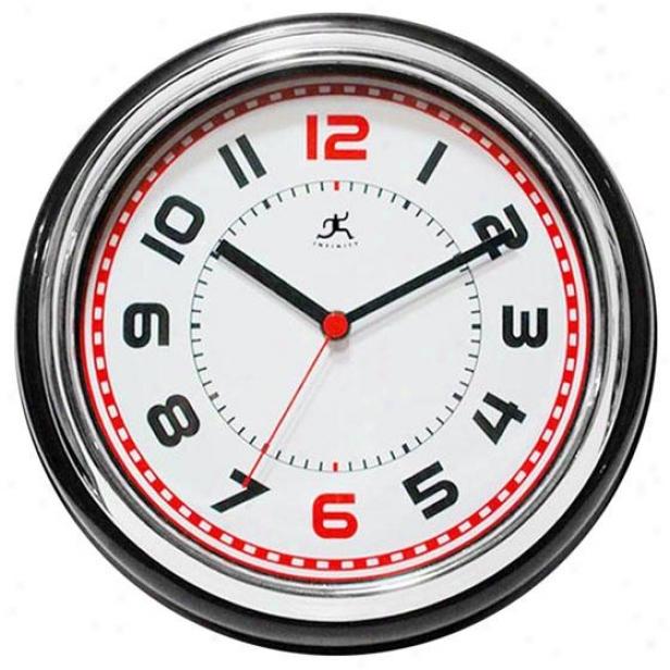 """Superintendent Wall Clock - 11.75""""hx11.75""""w, Black/chrome/wh"""