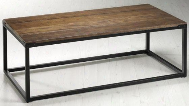 """brickell Coffee Table - 18""""hx48""""w, Ant Mtl/nt Wood"""