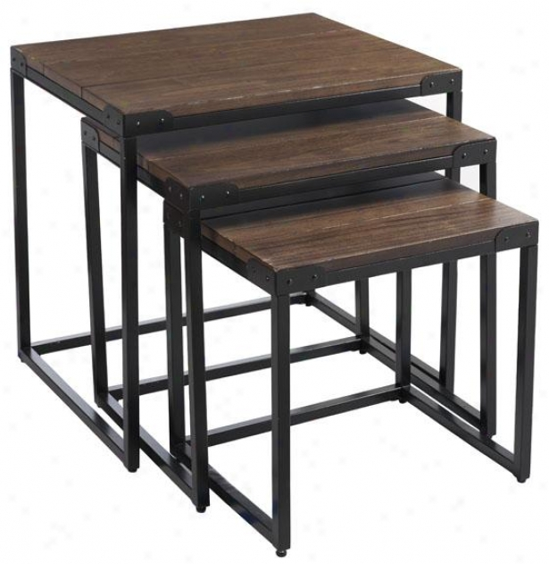 """brickell Nested Table - 24""""hx24""""a, Ant Mtl/n Wood"""