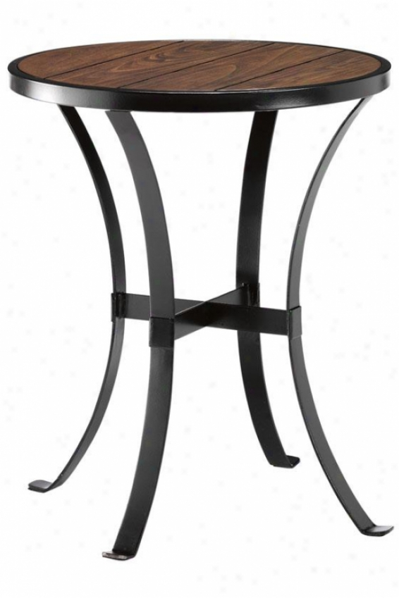 """brickell Round Sidd Enc Table - 24""""hx20""""d, Ant Mtl/nt Wlod"""