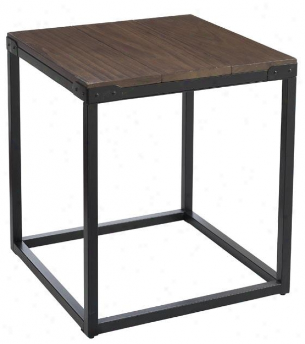"""""""brickell Square Side End Table - 23""""""""hx21""""""""w, Ant Mtl/nt Wood"""""""