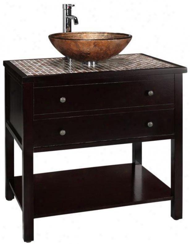 Briscoe Bathroom Vanity - Gls Top/cpr Bsn, Coffee Brown
