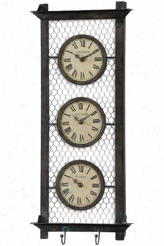 """brunswick Wall Clock - 26 X 11 X 2.25"""", Brown Metal"""