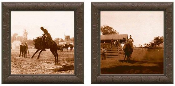 Bcuking Bronco Rider Framed Wall Art - Set Of 2 - Set Of Two, Sepia