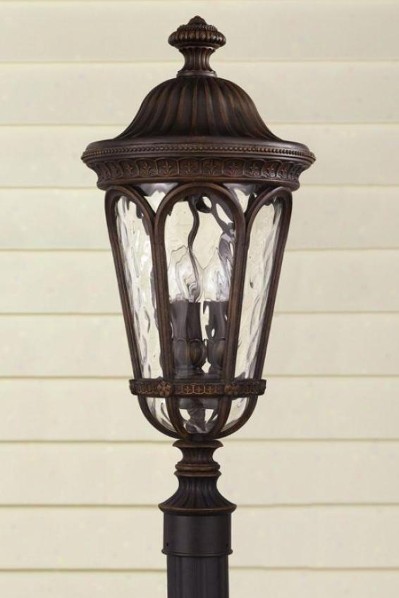 Buckingham Outdoor Light Post - Three Livht, Brown Wood