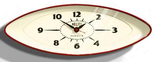 """""""bullitt Wall Clock - 6.5h X 17.5x3""""""""d, Red"""""""