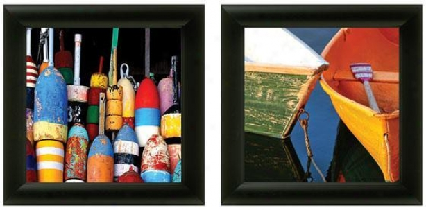 Buoys And Boats Framed Wall Art - Set Of 2 - Set Of Two, Bright Colrs