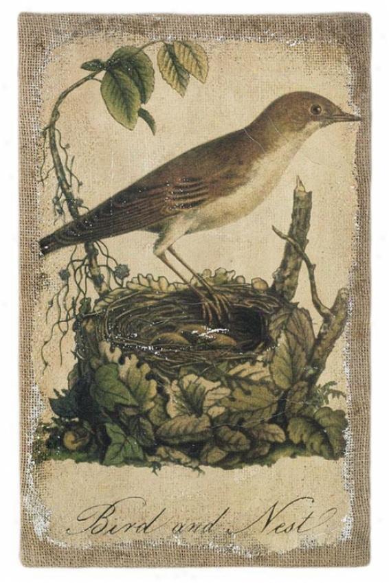 """""""burlap Bird Prints - 16""""""""hx12""""""""w, Ii"""""""