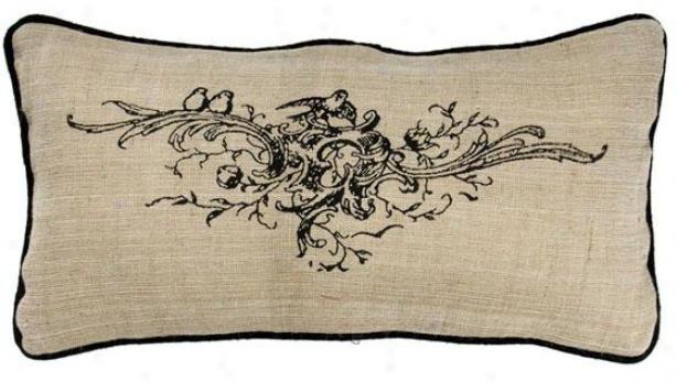 """""""burlap Floral Bouquet Pillow - 11""""""""h X 21""""""""w, Ivory"""""""