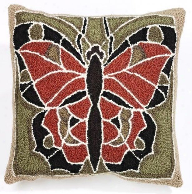 """butterfly Hook Pillow - 18"""" Square, Olive Rust Brwn"""