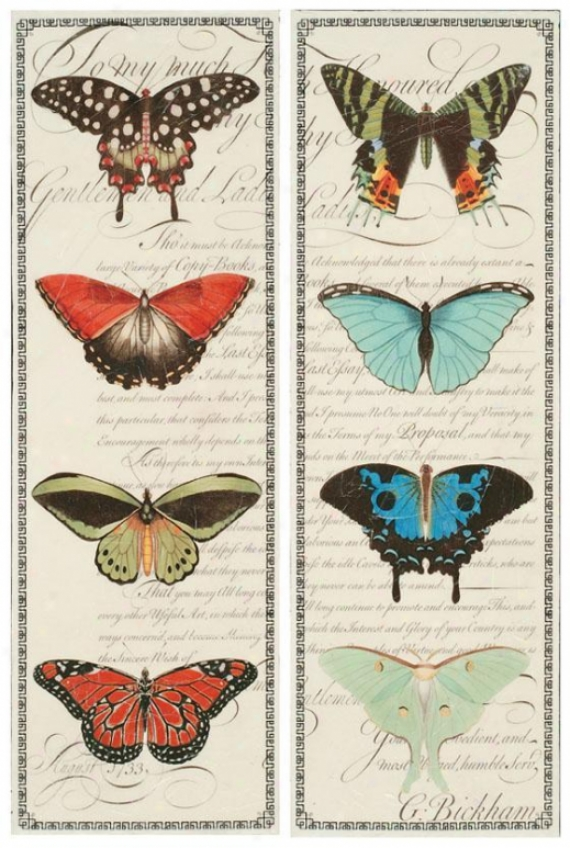 """butterfly Prose Wall Art - Ser Of 2 - 36""""hx12""""w, Purple"""