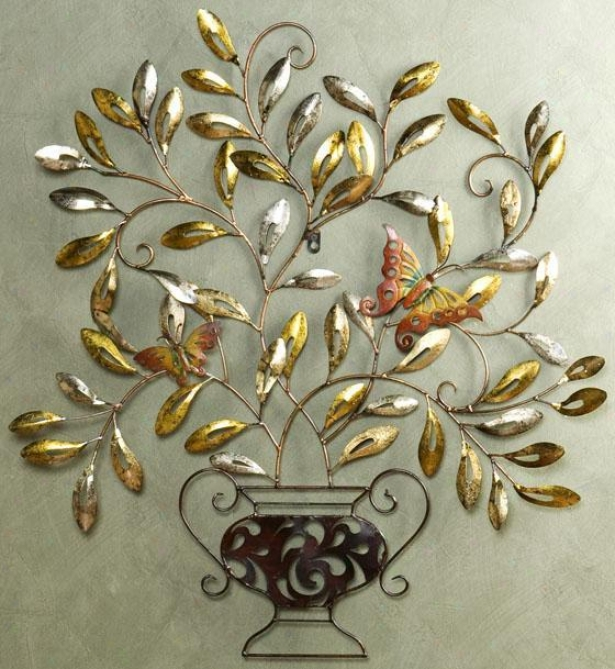 """butterfly Wall Sculpture - 32.5""""hx33""""w, Brown"""