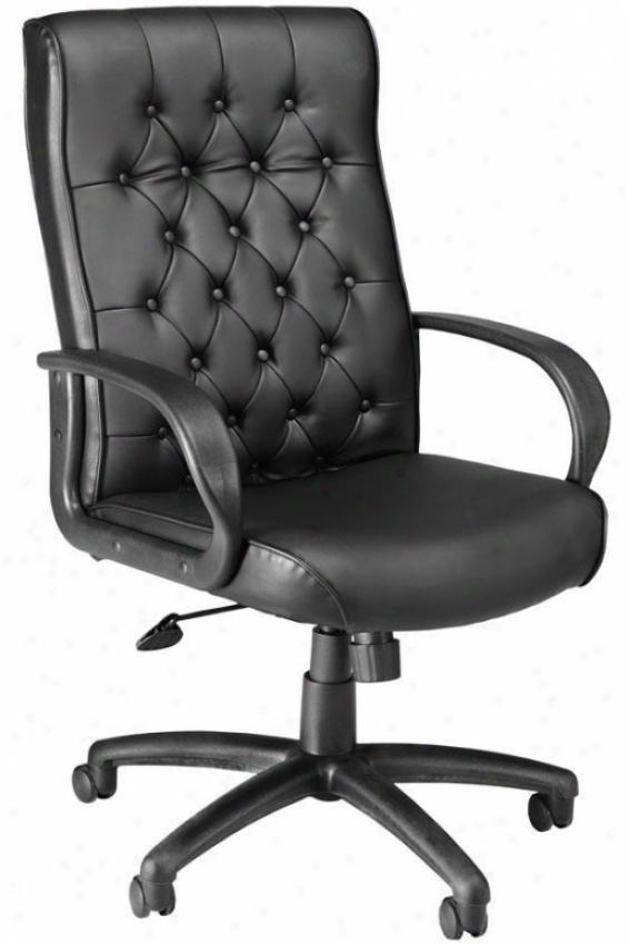 Button-tufted Executive Chair - High-back, Black
