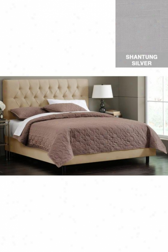Button Tufted Upholstered Bed - King, Shantung Silver