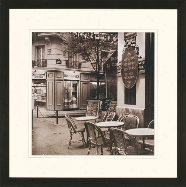"""cafe Montmartr3 Wall Art - 35""""squarex2""""d, Black And White"""