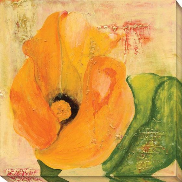 """calla Lily In Orange Canvas Wall Art - 40""""hx40""""w, Orange"""