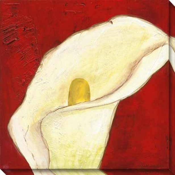 Calla Lily On Deep Red I Canvas Wall Skill - I, Red