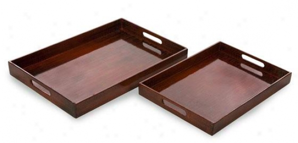 Calliope Serving Trays - Set Of 2 - Set Of Two, Red