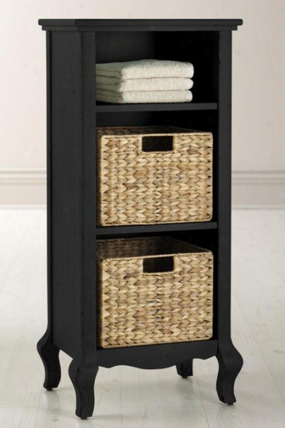 """camille Storage With Baskets - 36""""hx16""""w,, Black"""
