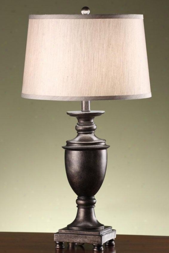 """cammy Table Lamp In Antique Pewter - 27.5""""h, Pewter"""