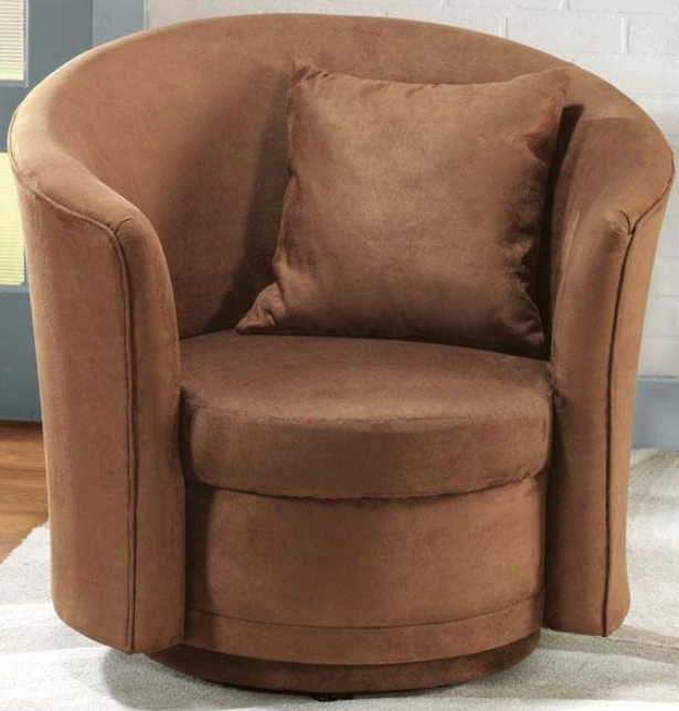 Cancun Swivel Accent Chair - 1 Pillow, Brown
