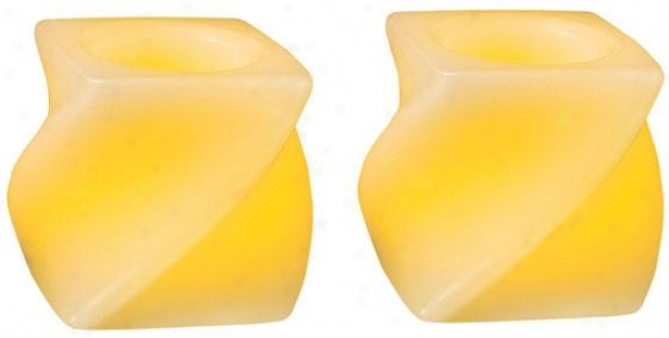 Candle Impressions Mini Led Candles - Set Of 2 - Two Pack, Twisted Squares
