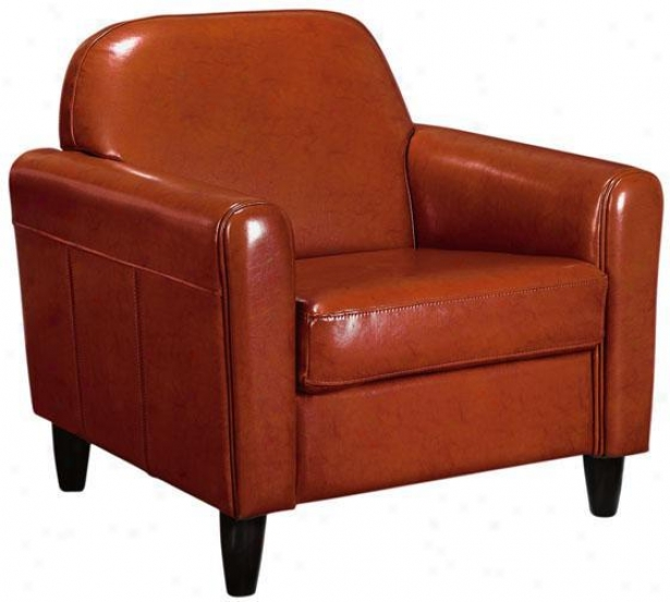 Canne sLeather Club Chair - Ensign, Orange