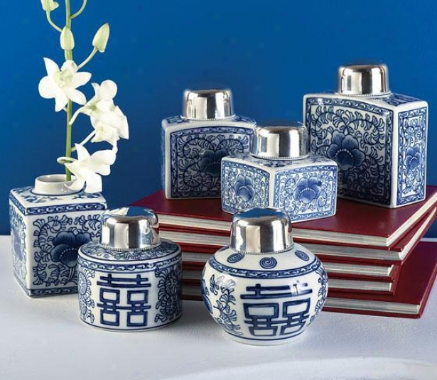 Canton Tea Jars - Set Of 6 - Set Of 6, Blie
