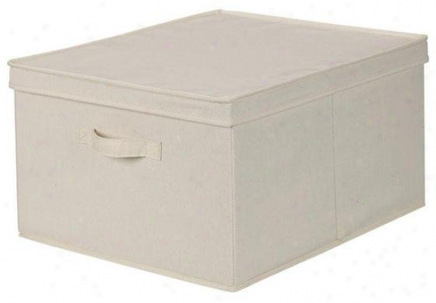 Canvas Storage Box With Lid - Jumbo, Ivory